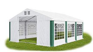 Das Company Tente de réception 3 x 6 m – Blanc/vert – Avec cadre de sol 560 g/m² – En PVC étanche – Solide – Tente de jardin Summer Floor SD Gazebo