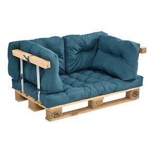 [en.casa] Coussins pour palettes – kit de 5 – Coussin de siège + Coussins de Dossier [Turquoise] Canapé de palettes in/Outdoor