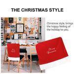Hemoton Housse de chaise de Noël en peluche amovible et lavable pour hôtel, cérémonie, maison, banquet, mariage Rouge