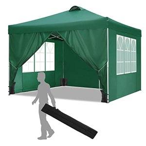 HOTEEL Tente de Reception 3x3m Tonnelle de Jardin Imperméable Tonnelle Pliante Gazebo de Jardin avec Air Évents, 4 Côtés, Sacs de Sable (3×3 m, Vert)