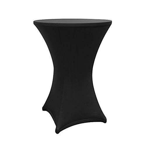 Lumaland Housse pour Table Haute de Reception Ronde| Nappe pour Mange-Debout | Protection Table Cocktail | Ø 60-65cm Noire