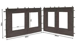 QUICK STAR 2 Panneaux latéraux en PE avec fenêtre 300x195cm / 400x195cm pour pavillon 3x4m paroi latérale Anthracite RAL 7012