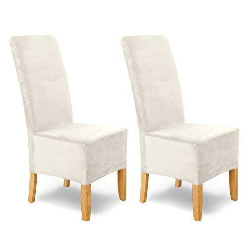 SCHEFFLER-Home Housse de Chaise Extensible « Puma Velvet » / Lot de 2 / Blanc-Ecru / Housses de siège élastiques en Velours / Housses de Chaise pour Chaise Luge