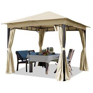 TOOLPORT Tonnelle de Jardin 3×3 m pavillon, bâche de Toit env. 180g/m² Tente de Jardin avec 4 bâches de côté Champagne Tente de réception