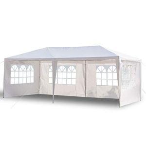 Outvita Tonnelle de Jardin, Tente de Réception Jardin avec 4 Bâches Amovibles pour Fête/Mariage/BBQ, 3x6x2,6m