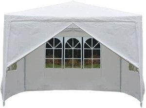 Tonnelle imperméable à 4 côtés 3 x 3 m – Abri de jardin robuste pour fête, camping, événement de mariage – Blanc