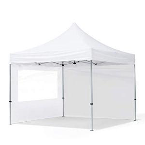 TOOLPORT Tente Pliante 3×3 m – 2 côtés Aluminium Barnum Chapiteau Pliant Tonnelle Stand Paddock Réception Abri PES300 Blanc