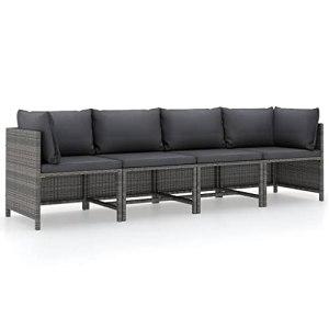 vidaXL Canapé de Jardin à 4 Places avec Coussins Sofa de Terrasse Canapé d'Extérieur Meuble de Jardin Meuble de Terrasse Patio Gris Résine Tressée