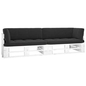 vidaXL Pin Imprégné de Blanc Canapé Palette 2 Places avec Coussins Meuble d'Extérieur Meuble de Terrasse Canapé d'Extérieur Sofa de Terrasse Salon