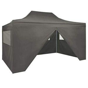 vidaXL Tente Pliable 4 Parois Latérales 3×4,5 m Anthracite Tonelle Pavillon