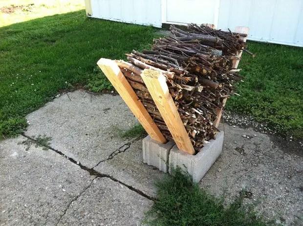 Easy Outdoor DIY Firewood Rack from Cinder Blocks • 1001 ... on Simple Cinder Block Fireplace id=88663