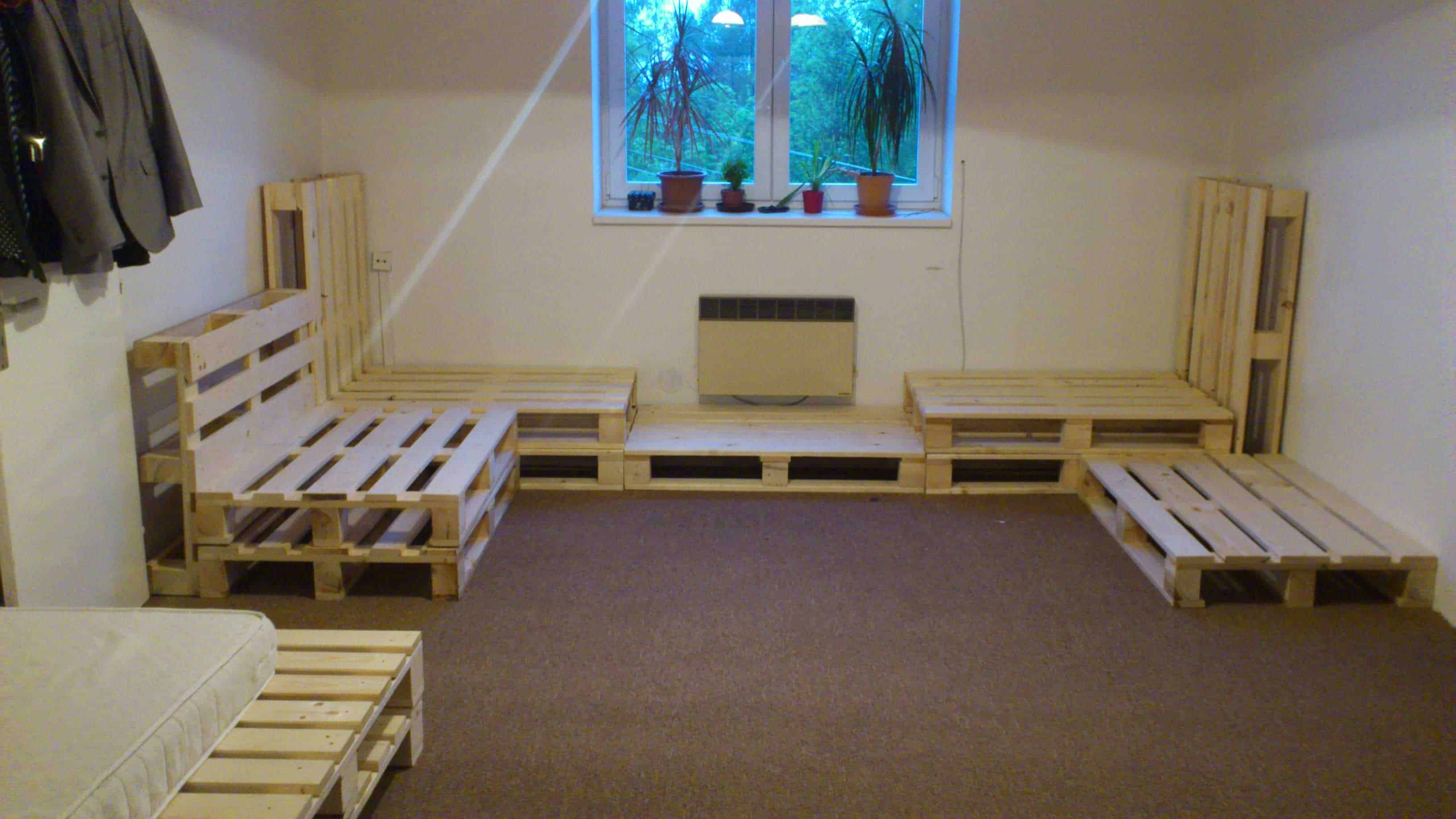 Living Room Installation Made Out Of Repurposed Pallets ... on Pallet Room  id=69922