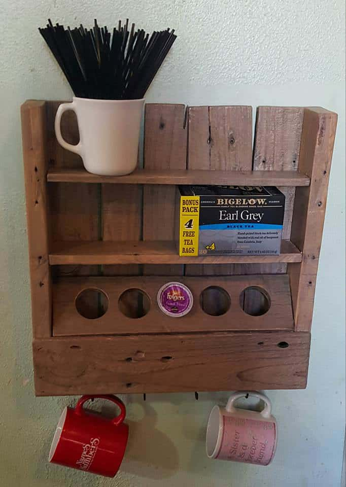Rustic Coffee Or Tea Shelf Made From Only One Recycled