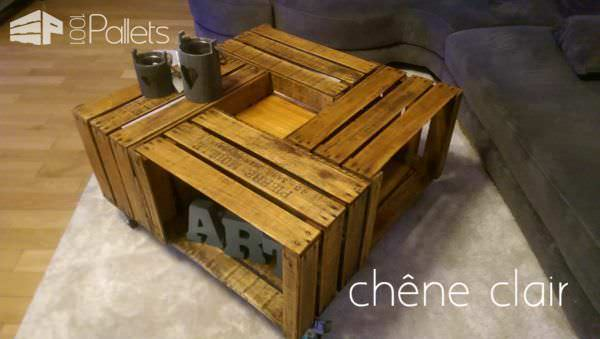 apple crates into coffee table