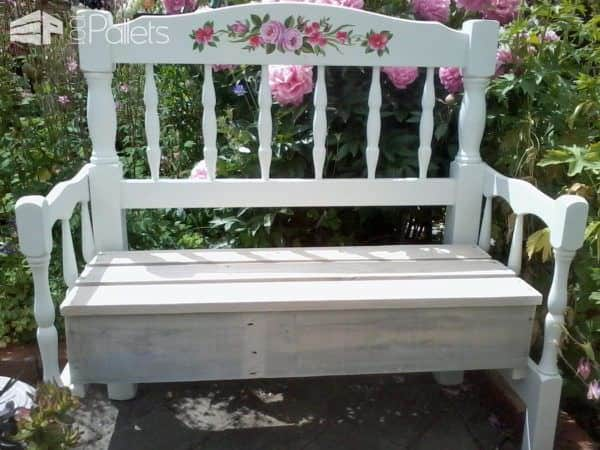 pallet wood garden bench made with two headboards! • 1001 pallets