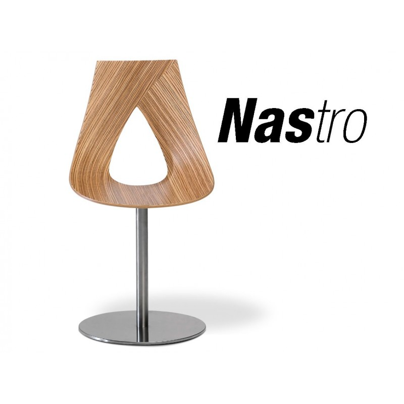 chaise design sur pied central pivotant nastro cr assise bois zebrano