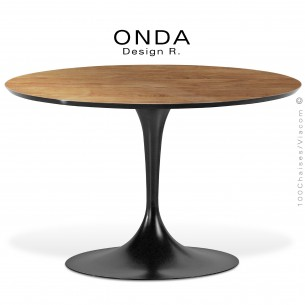 table ronde plateau verre onda