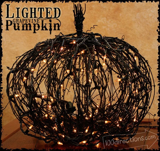 Back grapevine pumpkin with lights