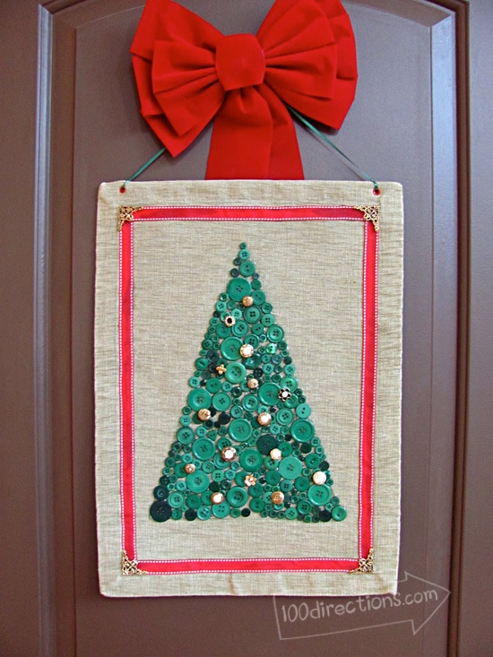 Button art Christmas Tree by Jen Goode