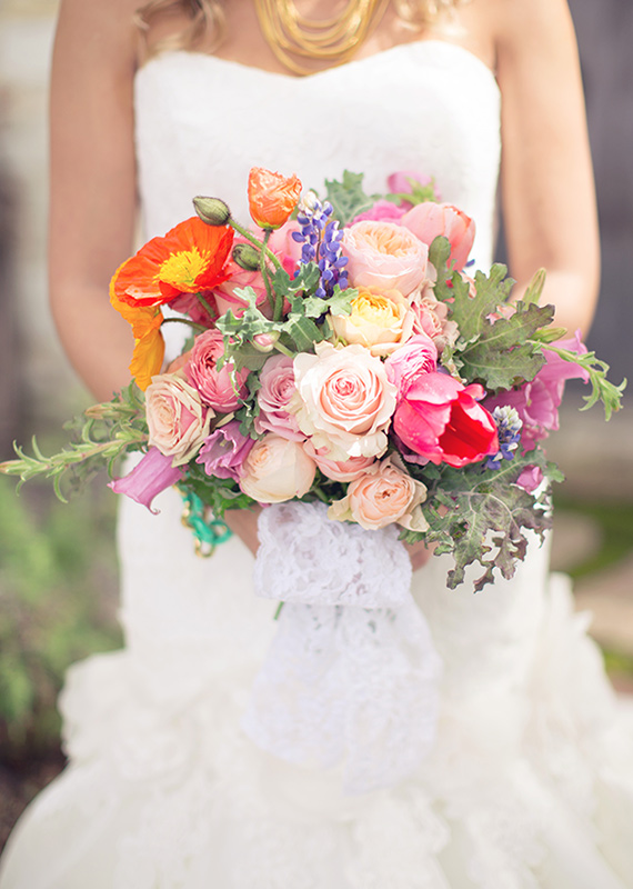 Bright poppy and rose bridal bouquet | photo by This Love of Yours | 100 Layer Cake