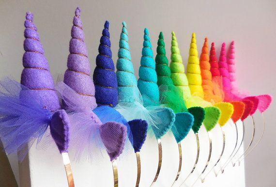 Cuernos de unicornio arco iris paquete para fiesta...