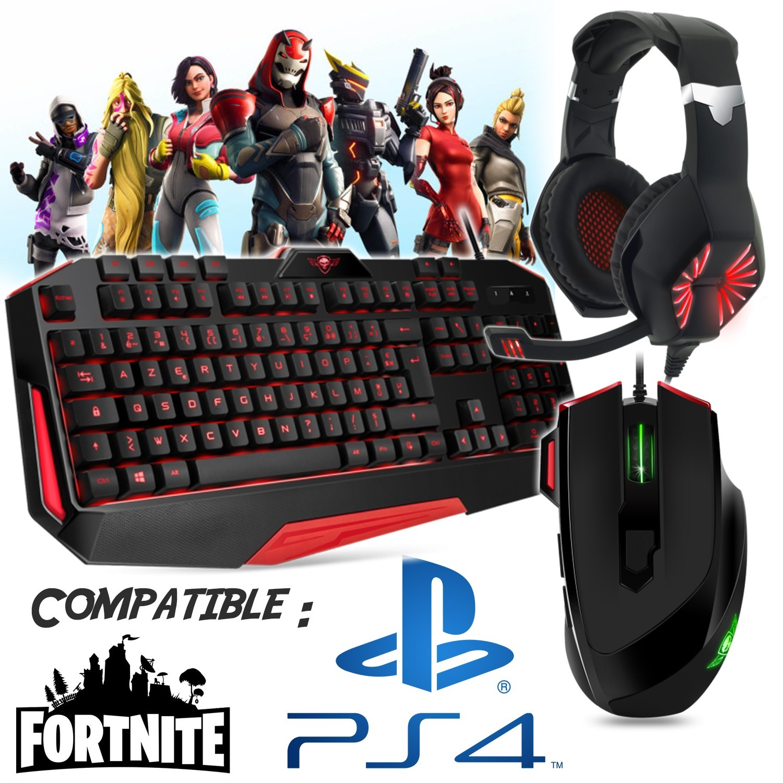 pack gamer tastatur maus kopfhorer kompatibel teppich fortnite ps4