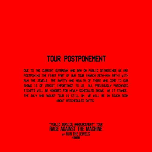 Rage Against the Machine Tour Postponment