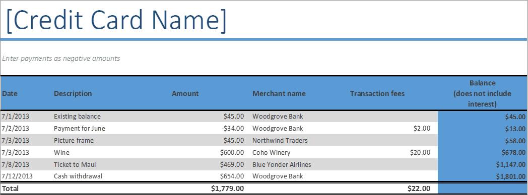 Credit Card Log Excel - Business Insights Group AG
