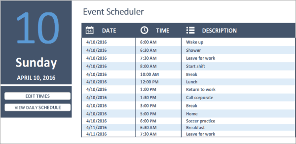 daily work schedule excel business insights group ag