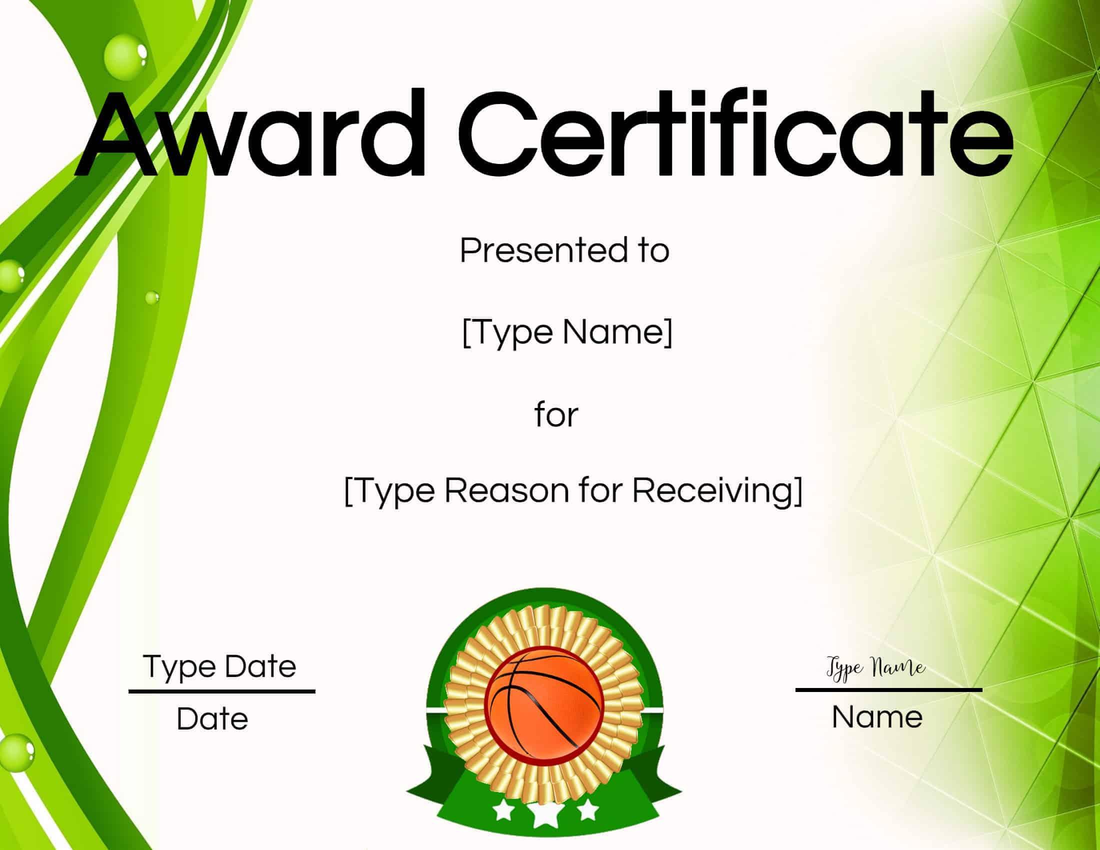 Free Printable Basketball Certificates