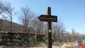 Il cartello che indica l'inizio del sentiero