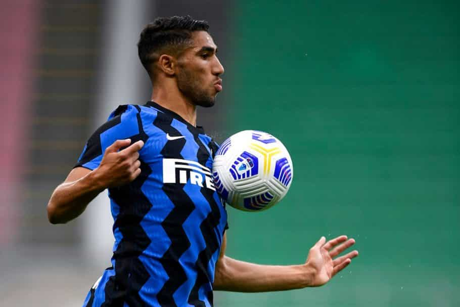 STADIO GIUSEPPE MEAZZA, MILAN, ITALY - 2020/09/19: Achraf Hakimi of FC Internazionale in action during the pre-season friendly football match between FC Internazionale and Pisa SC.  FC Internazionale won 7-0 over Pisa SC.  (Photo by Nicolò Campo / LightRocket via Getty Images)