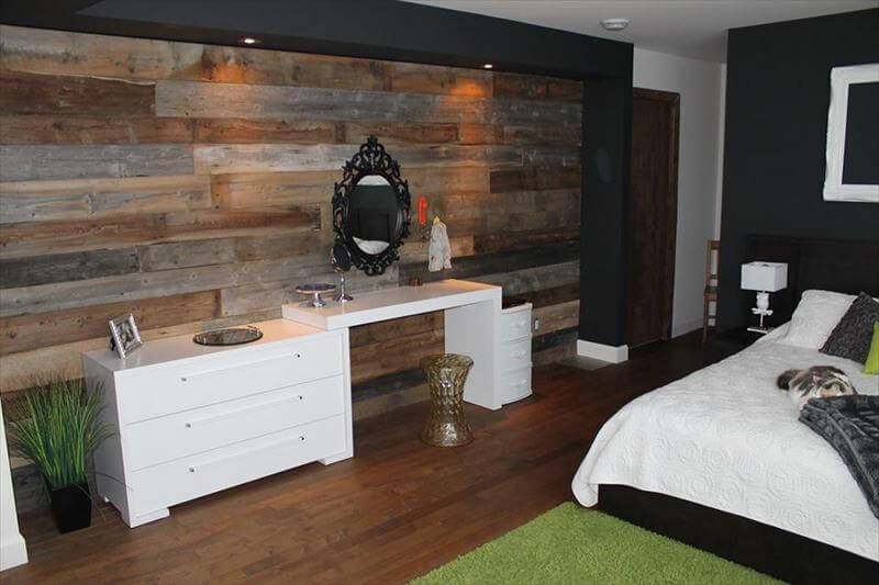 DIY Wood Pallet Wall Ideas and Paneling on Pallet Bedroom  id=96434