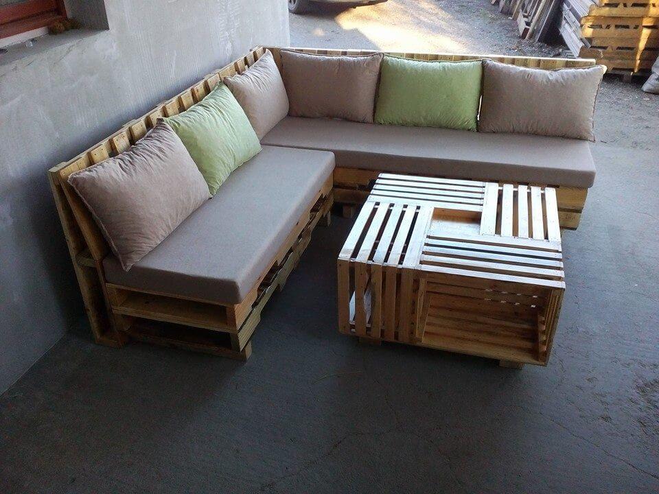 wooden pallet l shape sofa set