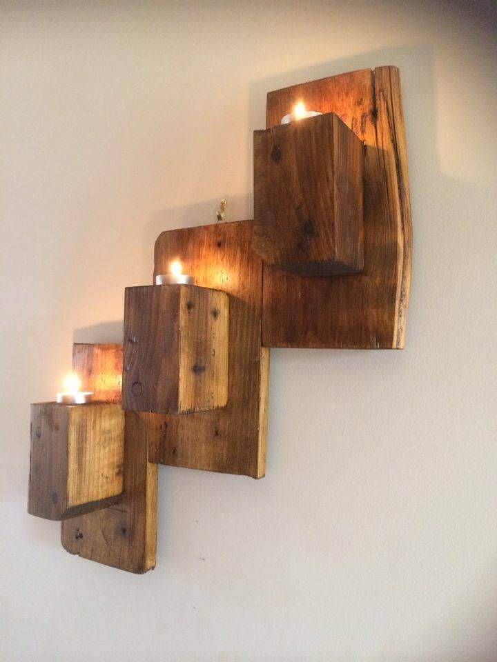 Pallet Wall Mounted Candle Holders - 101 Pallet Ideas on Wall Mounted Candle Holder id=22122