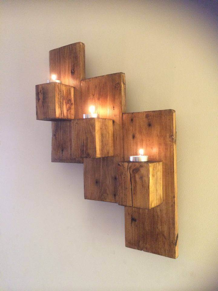 Pallet Wall Mounted Candle Holders on Wall Mounted Candle Holder id=28250