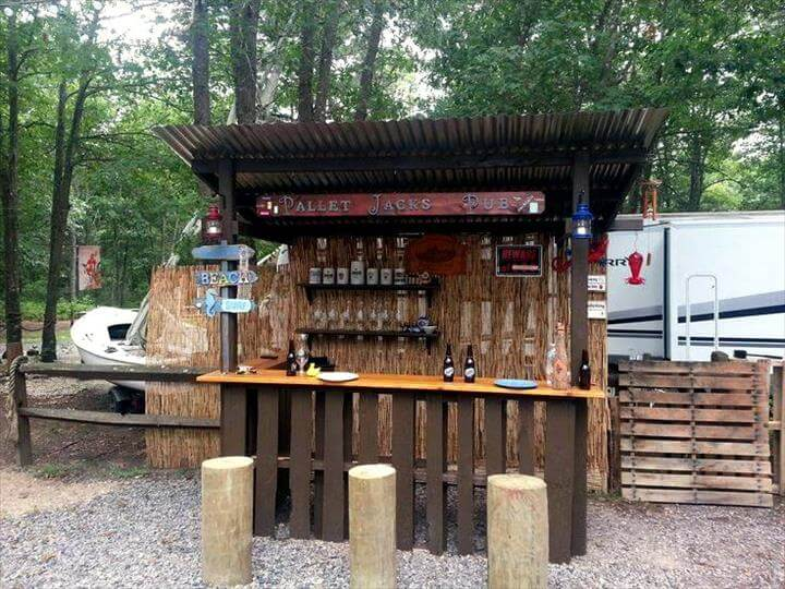 50+ Best-loved Pallet Bar Ideas & Projects on Backyard Bar With Roof id=68985