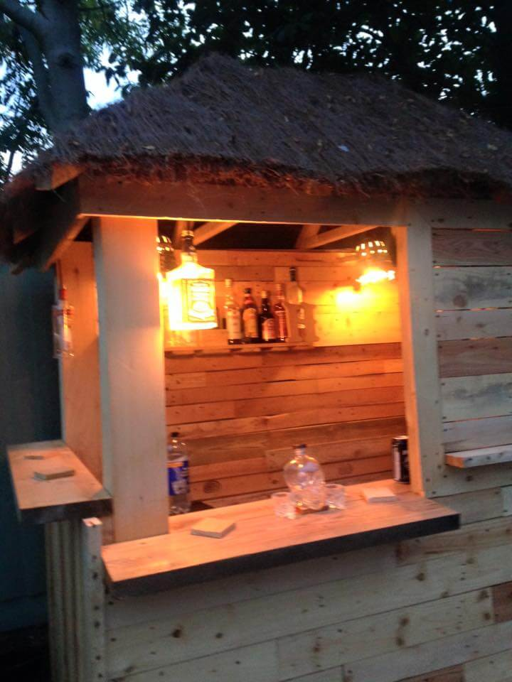 DIY Outdoor Pallet Bar with Pyramid Style Roof on Backyard Bar With Roof id=33336