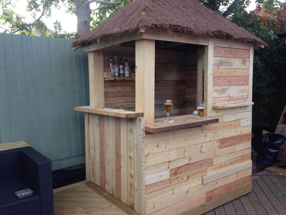 DIY Outdoor Pallet Bar with Pyramid Style Roof on Backyard Bar With Roof id=87075
