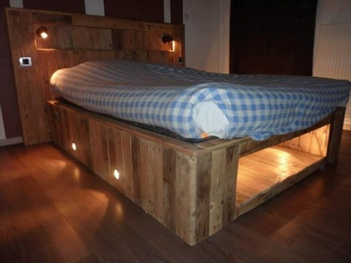 Rusitc Pallet Bed Frame with lights