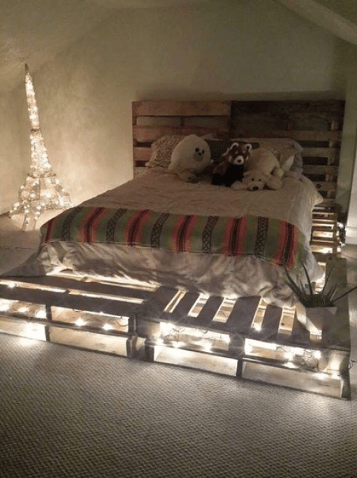 Bed with Light Made From Pallet