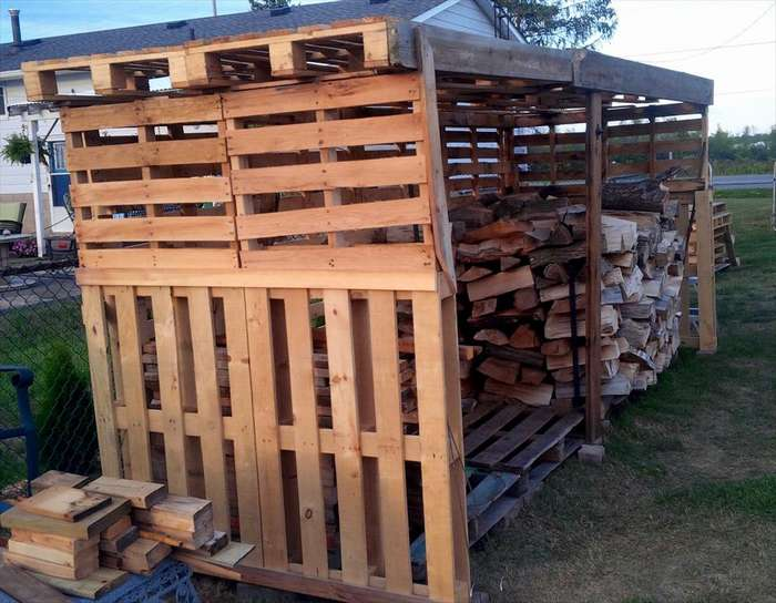 No Cost Pallet Wooden Firewood Shed
