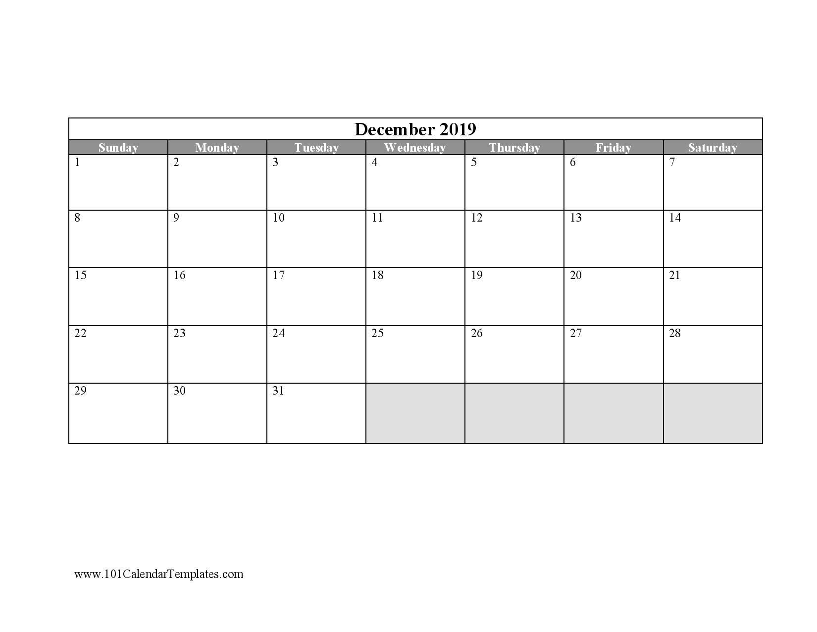 Free Blank Calendar Templates Word Excel Pdf For Any Month