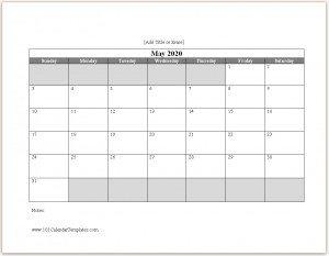 Free 2020 Calendar Template Word