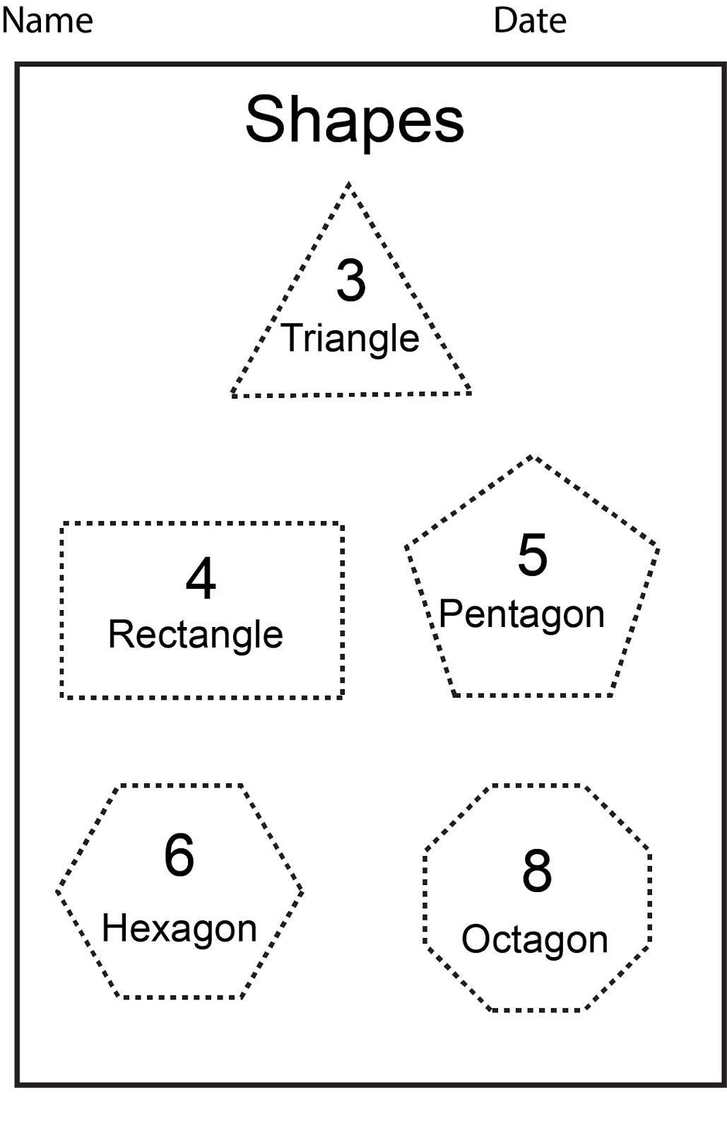 Shapes And Sides Worksheets