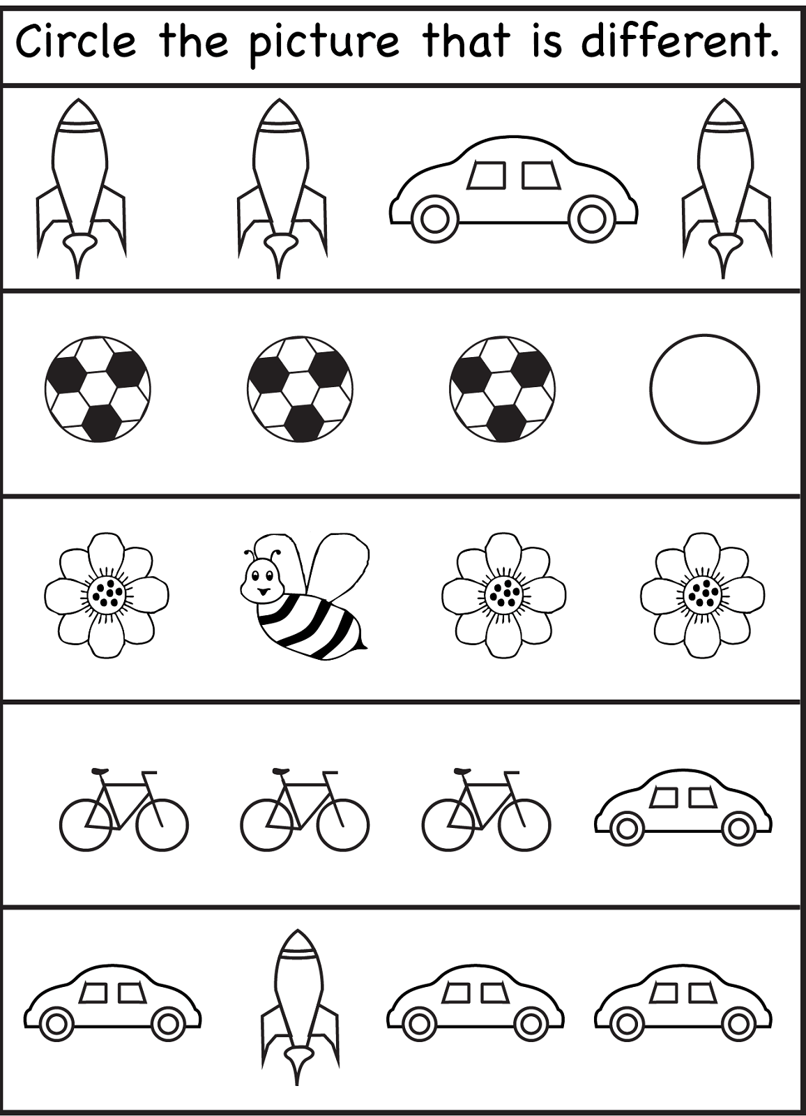 Same Different Worksheets For Kids