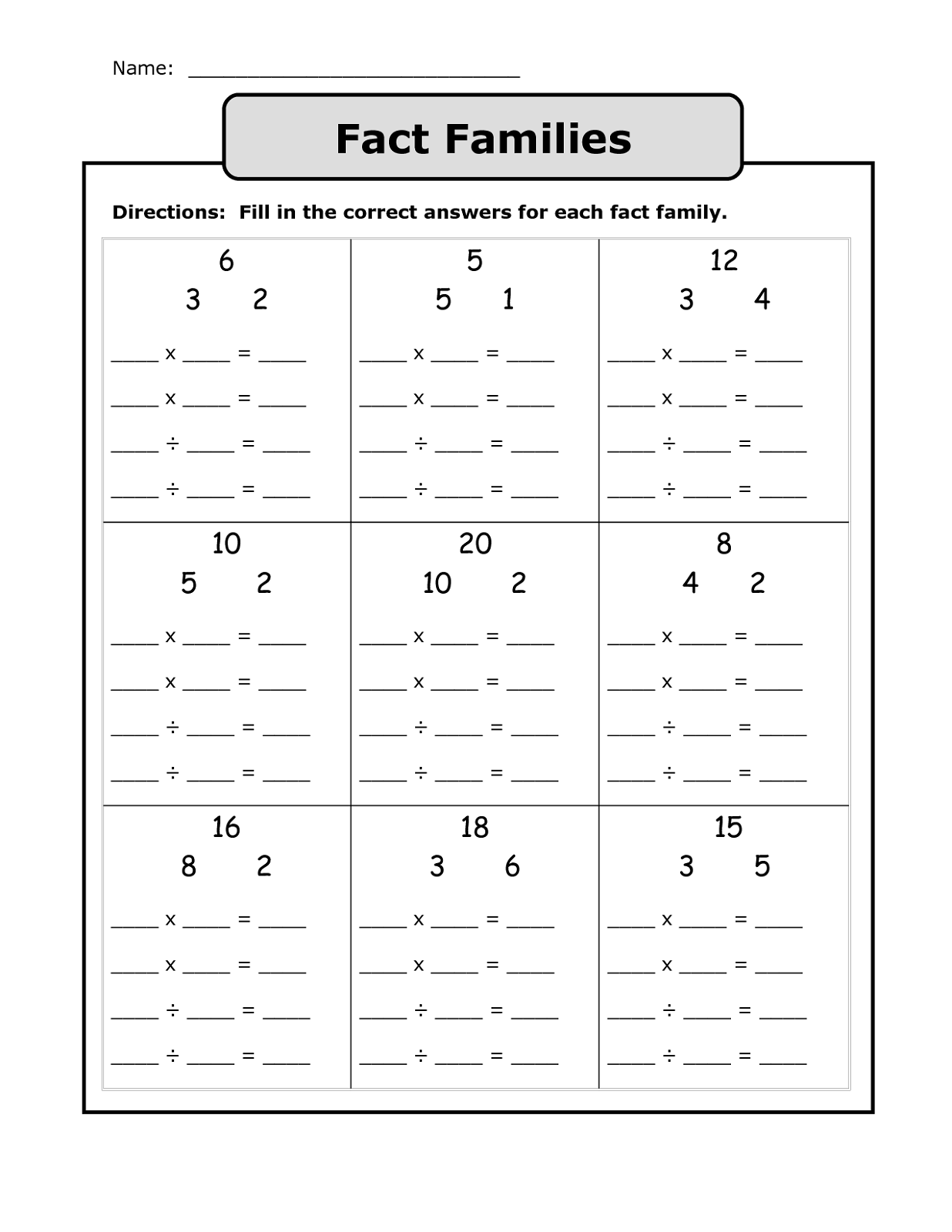 Fact Family Worksheets 1st Grade Simple