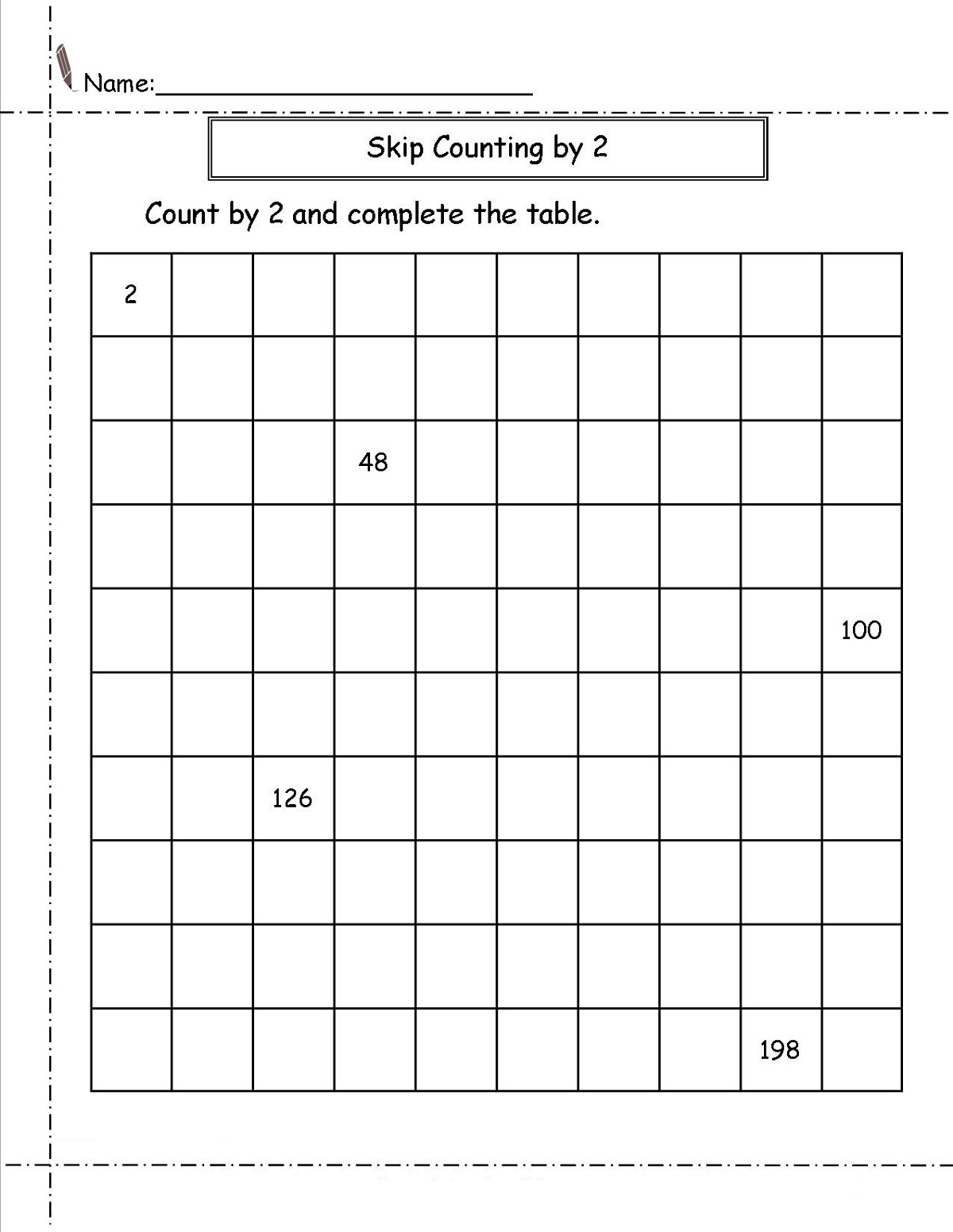 Skip Count By 2 Worksheet Images