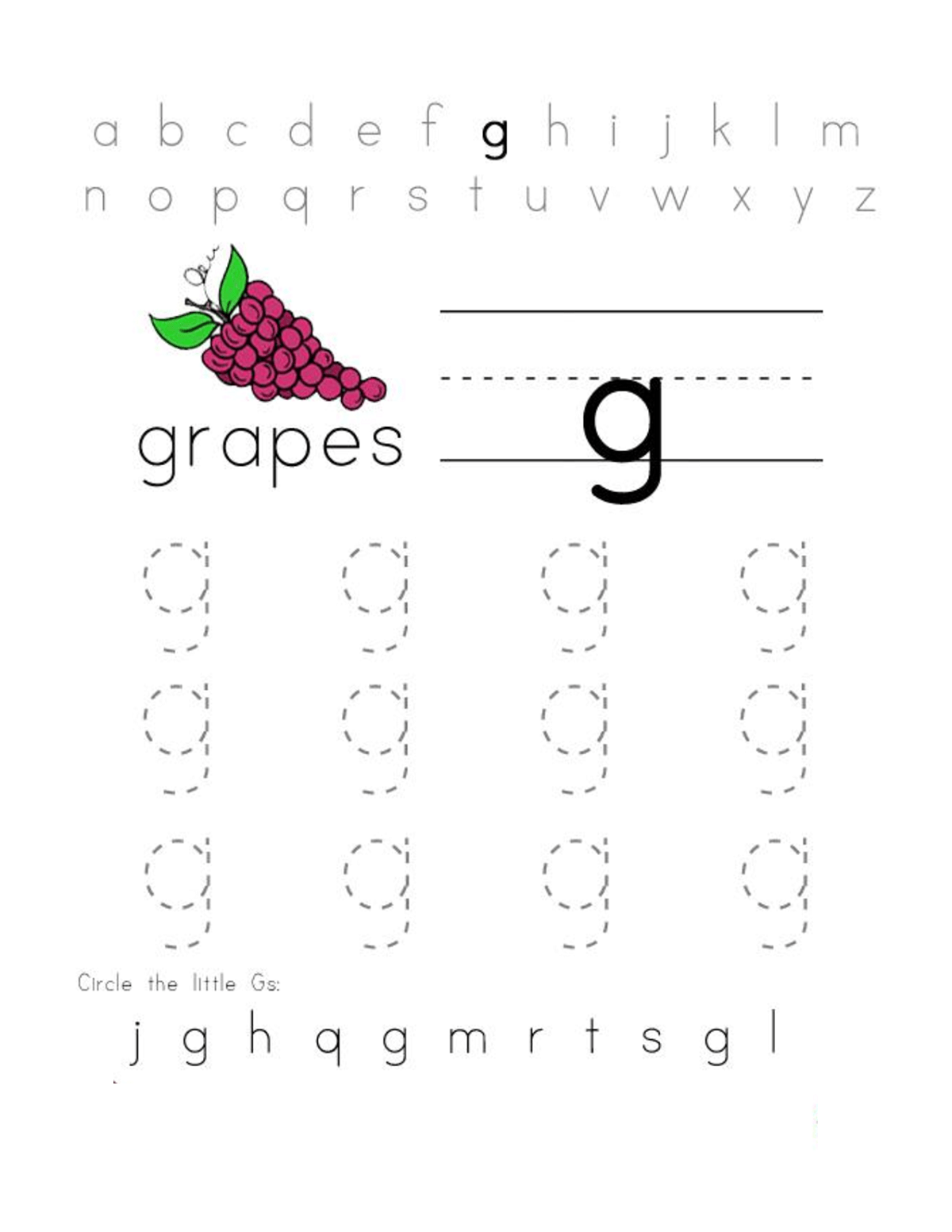 Trace Letter G For Better Handwriting