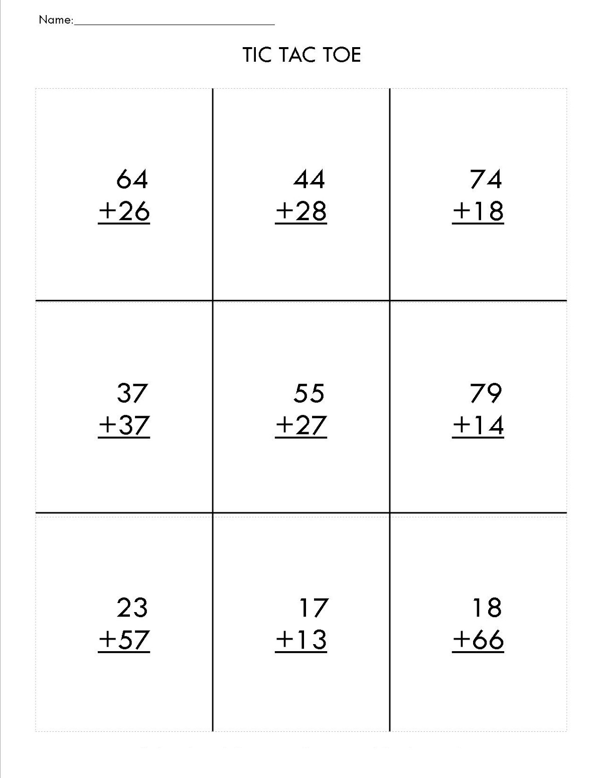 Two Digit Math Worksheets Easy